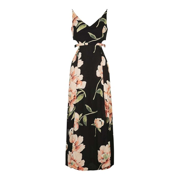 cheap prices biggest selection info for [Topshop PETITE] Cut-Out Floral Maxi Dress